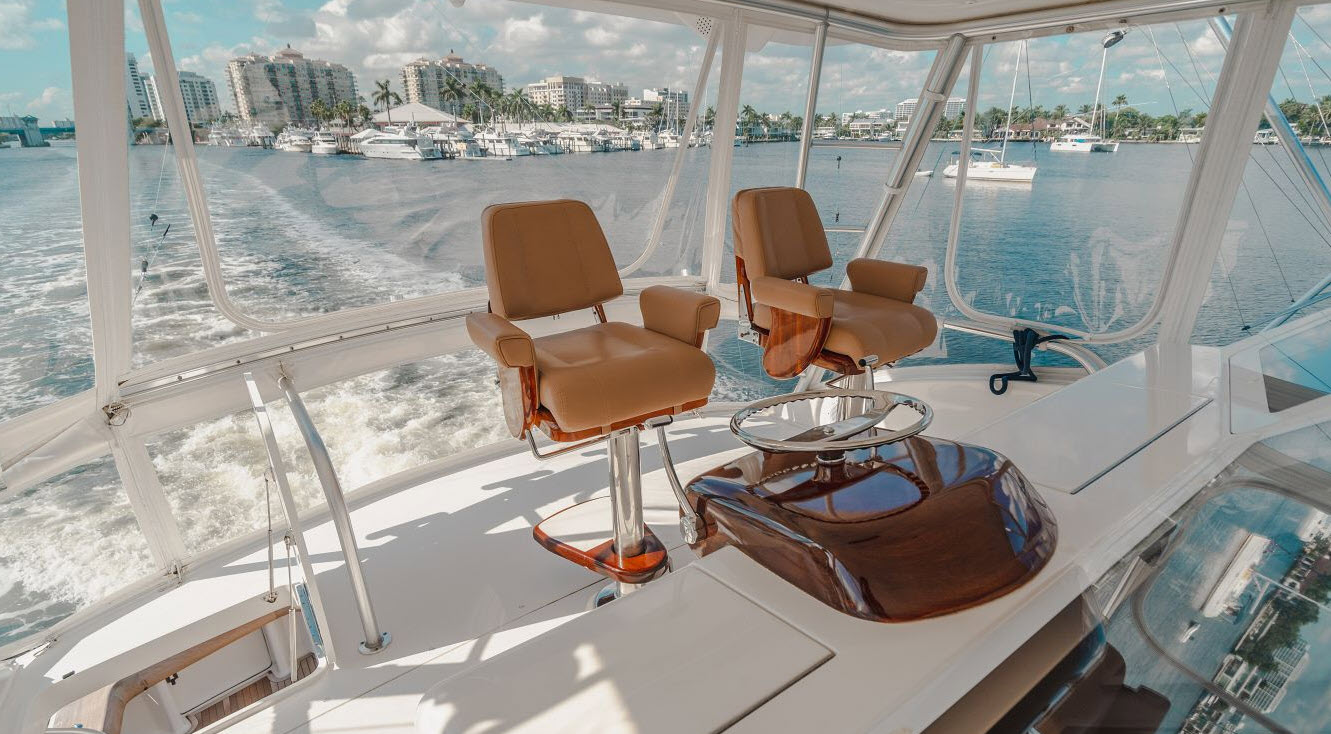 Flybridge helm on Viking Yachts 64C