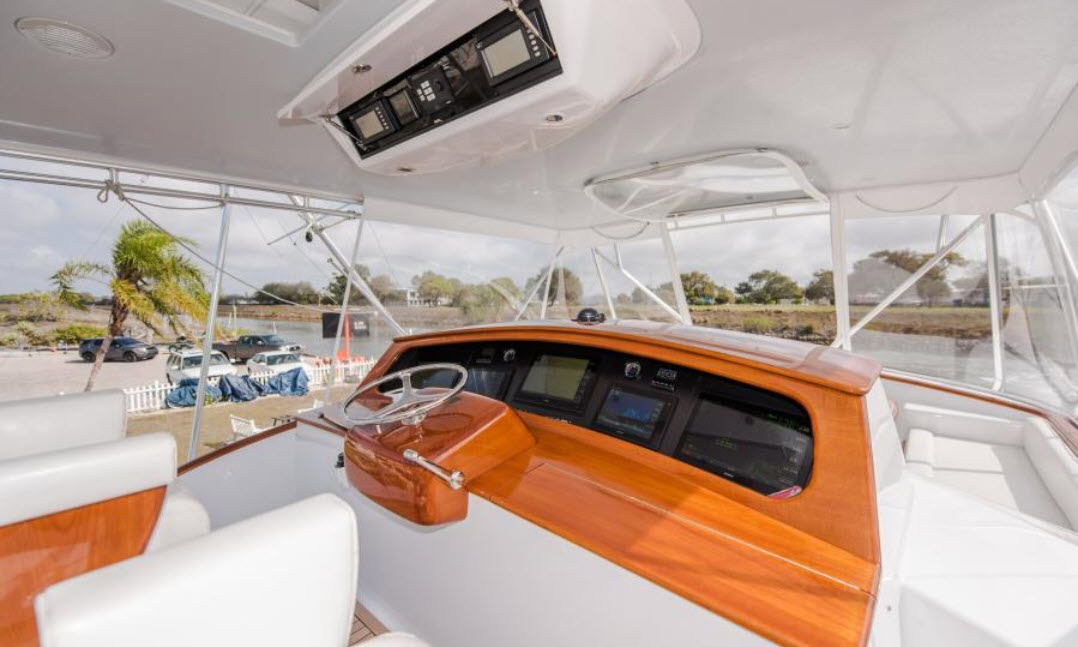 Flybridge helm station on Willis Yachts 76