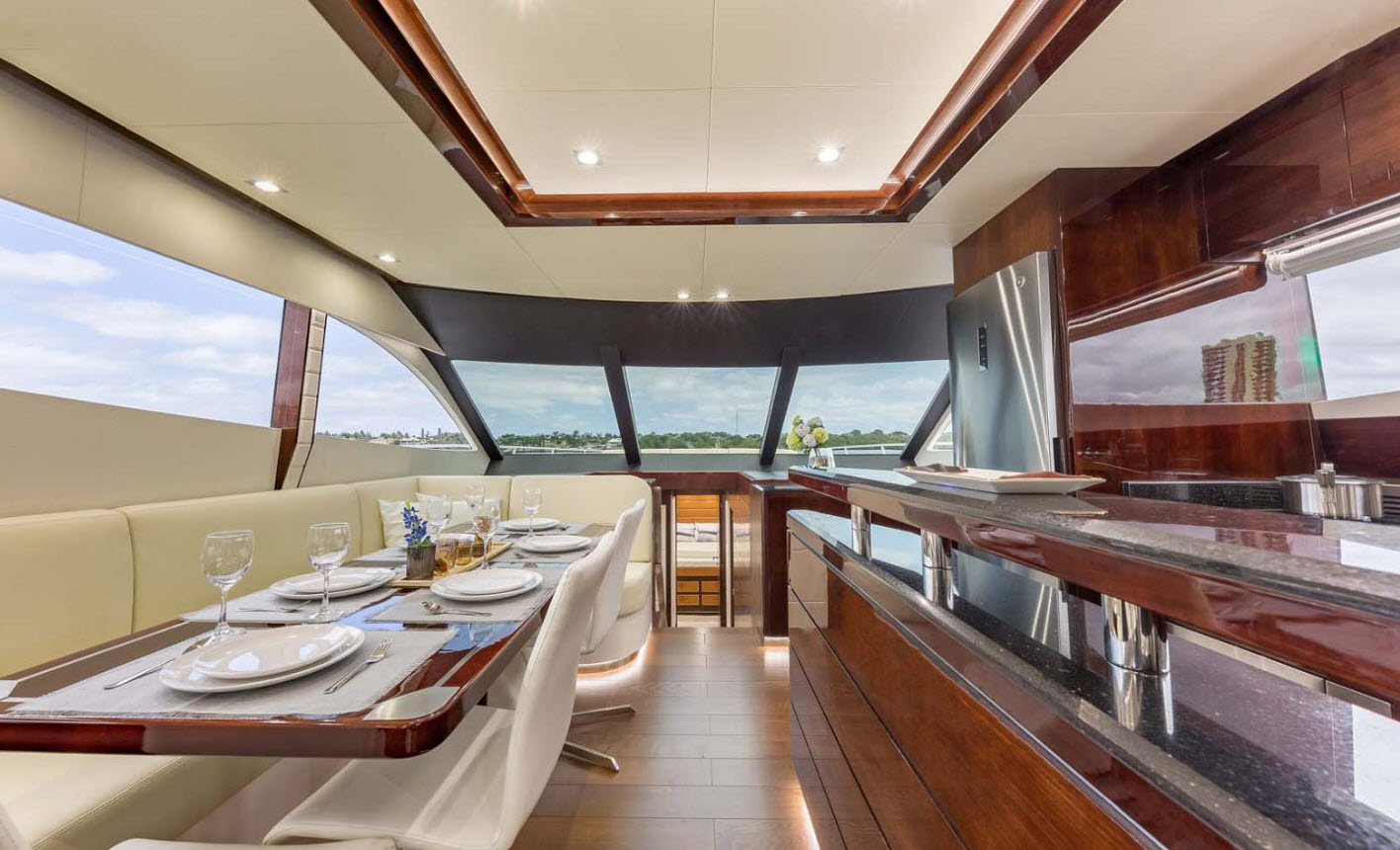 galley and dining area on dyna 68