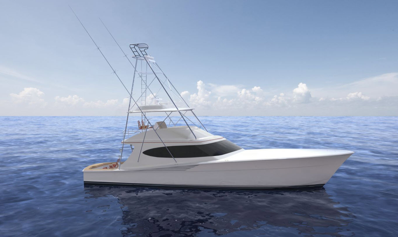 Hatteras GT65 Carolina Rendering Profile