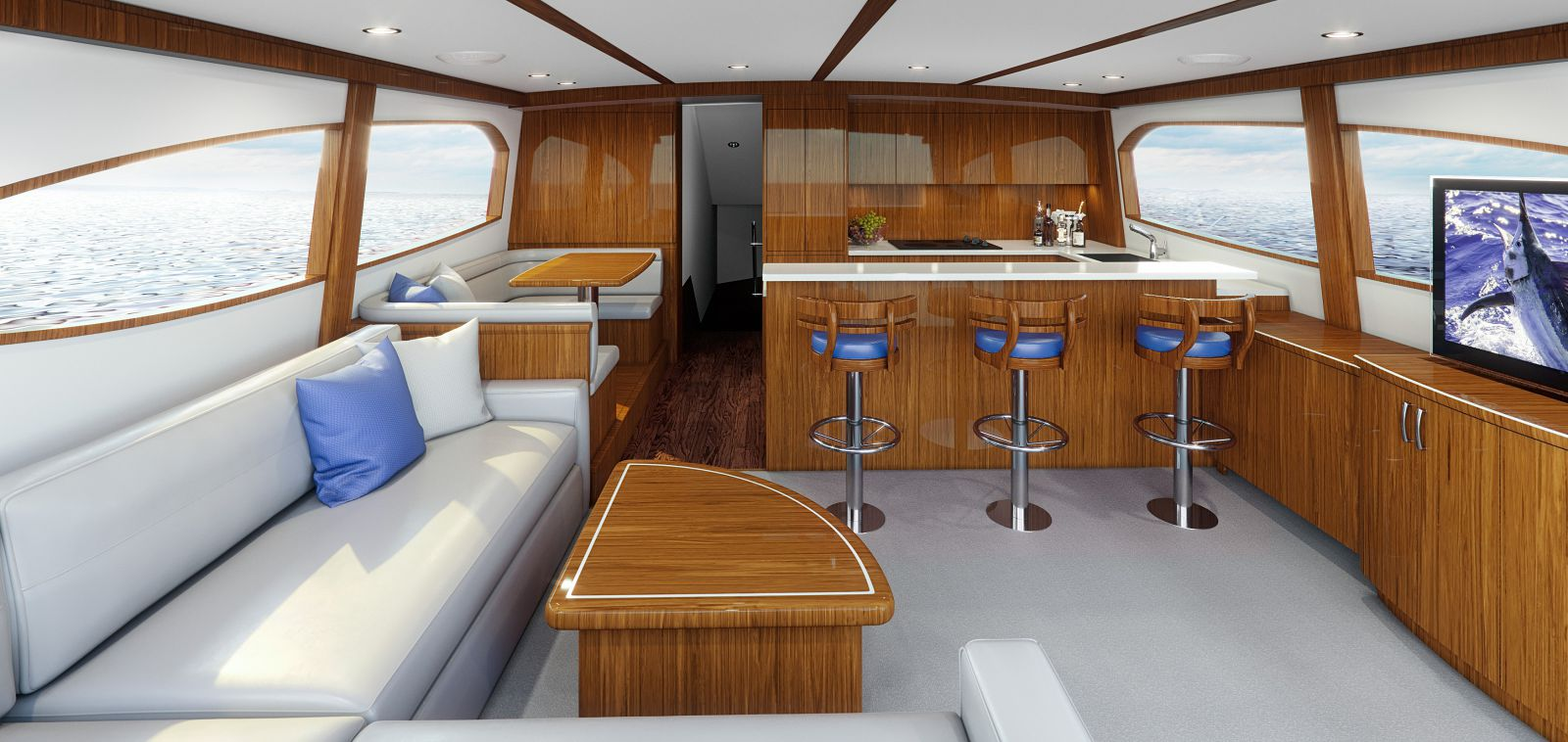 Hatteras GT65 Carolina salon and galley