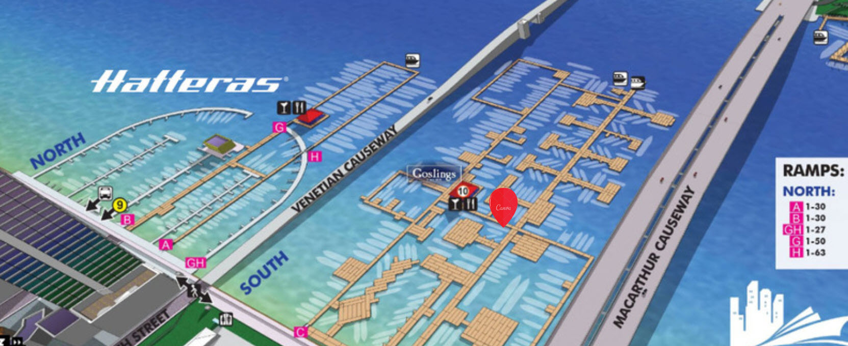 map of miami yacht show hatteras display