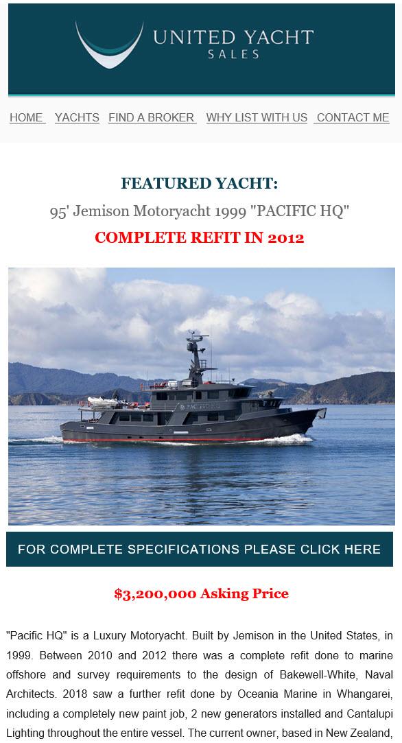 Yacht marketing brokerage industry email blast