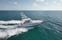 photo of Cabo Yachts 41 with tower running fast in tropical water