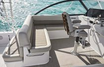 photo of bench seating behind helm on cabo 41