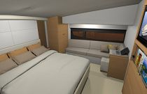 photo of master stateroom on the Mares 65 motor yacht