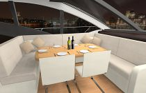 photo of dining table on the Mares 65 motor yacht
