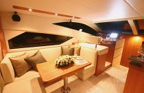 photo of salon couch on the mares 45 motor yacht